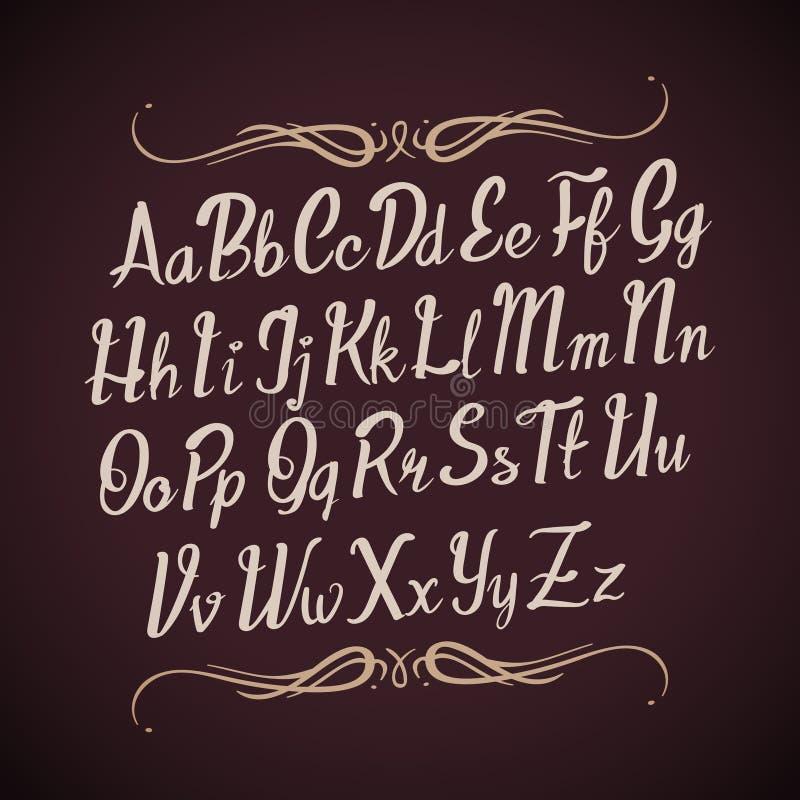 Нарисованные рукой письма алфавита вектора Рукописный тип каллиграфии иллюстрация вектора