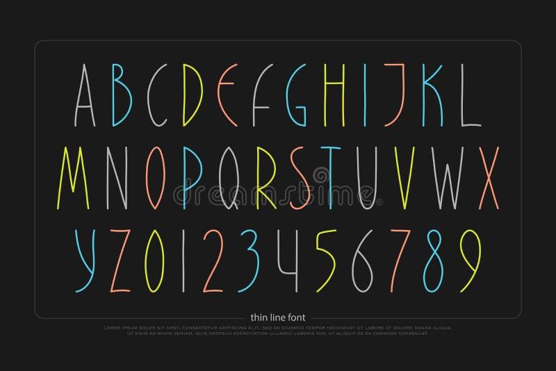Нарисованные рукой письма и номера алфавита Тип шрифта стоковые изображения rf