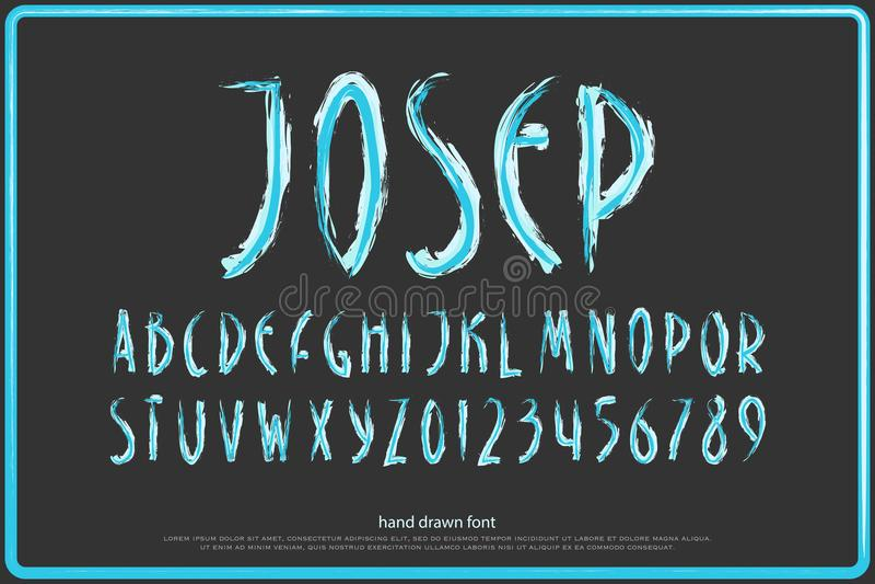 Нарисованные рукой письма и номера алфавита щетка вектора, тип шрифта стоковые изображения