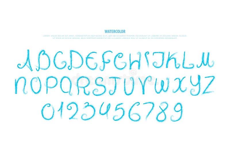 Нарисованные рукой письма и номера алфавита watercolour, тип шрифта иллюстрация штока