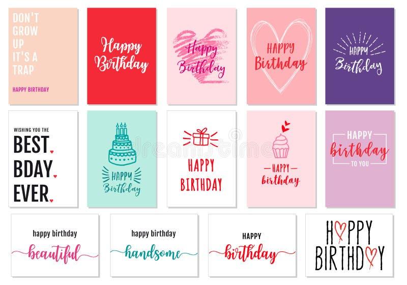 Нарисованные рукой поздравительые открытки ко дню рождения, комплект вектора бесплатная иллюстрация