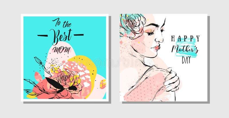 Нарисованные рукой поздравительные открытки конспекта вектора установили с счастливыми каллиграфией дня матерей и диаграммой женщ бесплатная иллюстрация
