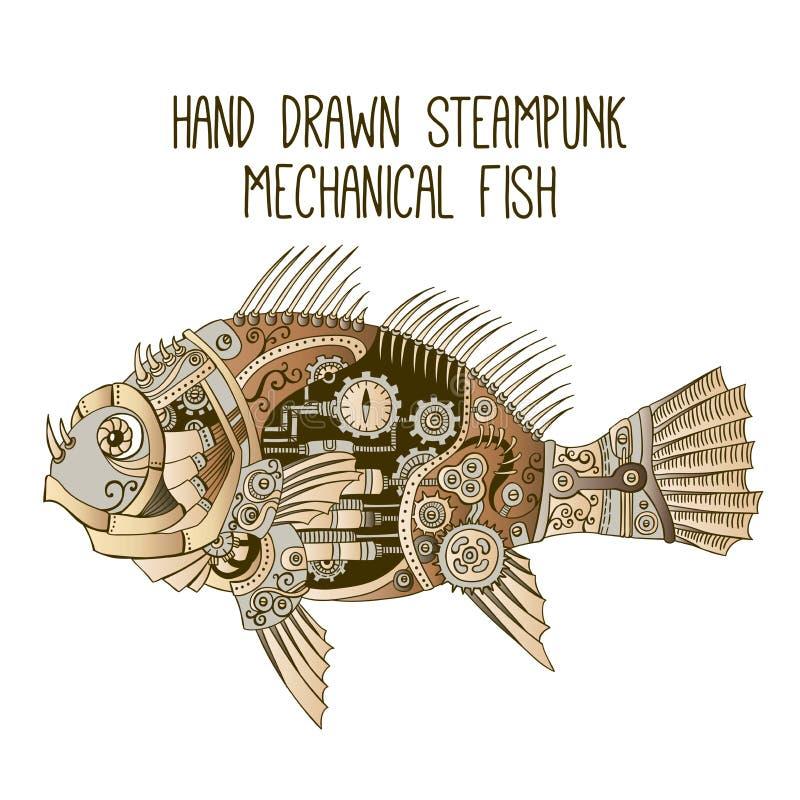 Нарисованные рукой рыбы steampunk механически иллюстрация вектора