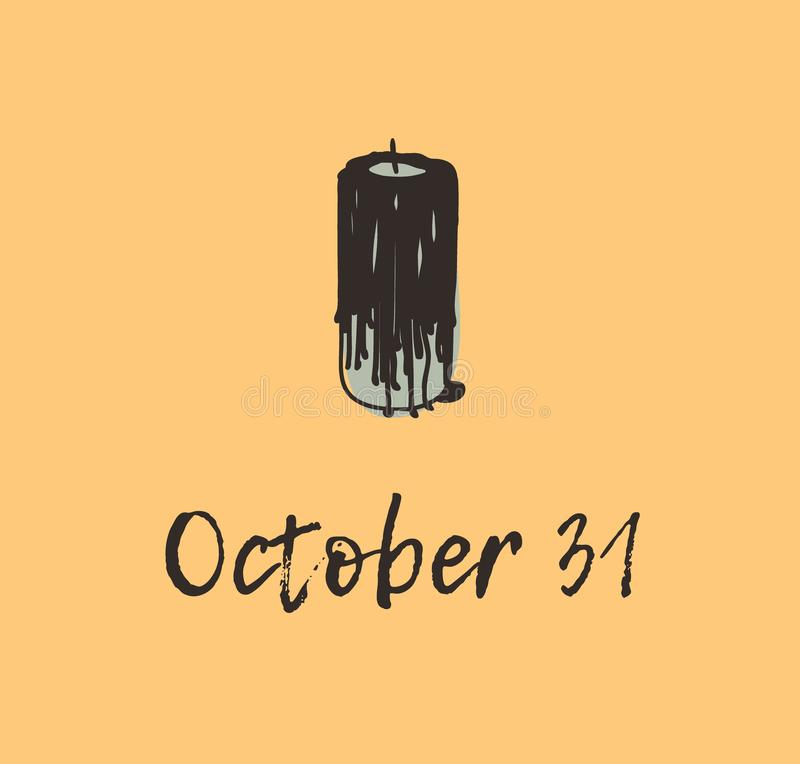 Нарисованные рукой свеча и цитата черноты иллюстрации Творческое произведение искусства чернил Фактический чертеж Художнический и иллюстрация вектора