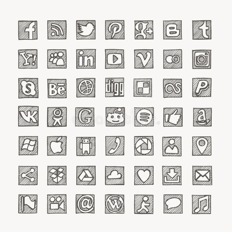 Нарисованные рукой социальные значки сети средств массовой информации иллюстрация вектора