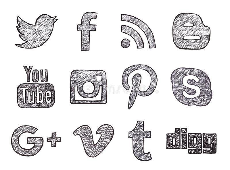 Нарисованные рукой социальные кнопки средств массовой информации иллюстрация вектора
