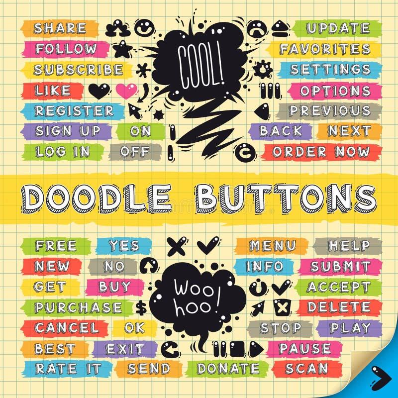 Нарисованные рукой схематичные установленные кнопки Doodle иллюстрация штока