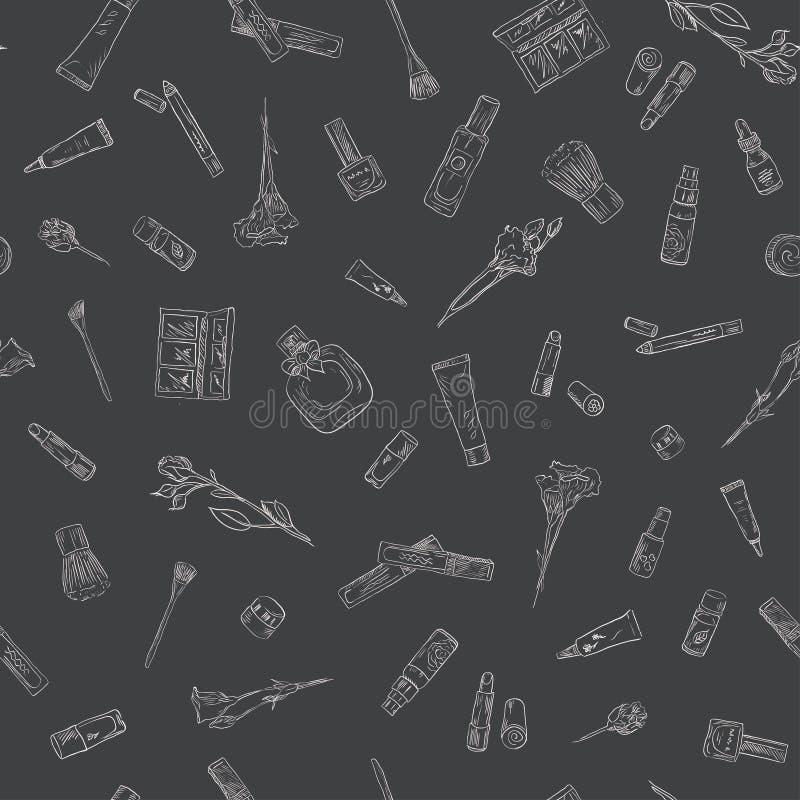 Нарисованные рукой установленные детали красоты и косметик Безшовная предпосылка картины для дизайна бесплатная иллюстрация
