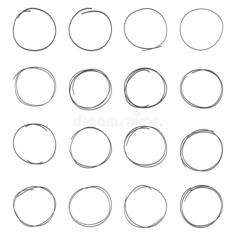 Нарисованные рукой установленные круги scribble Элементы дизайна примечания эскиза чернил Doodle круглые иллюстрация вектора