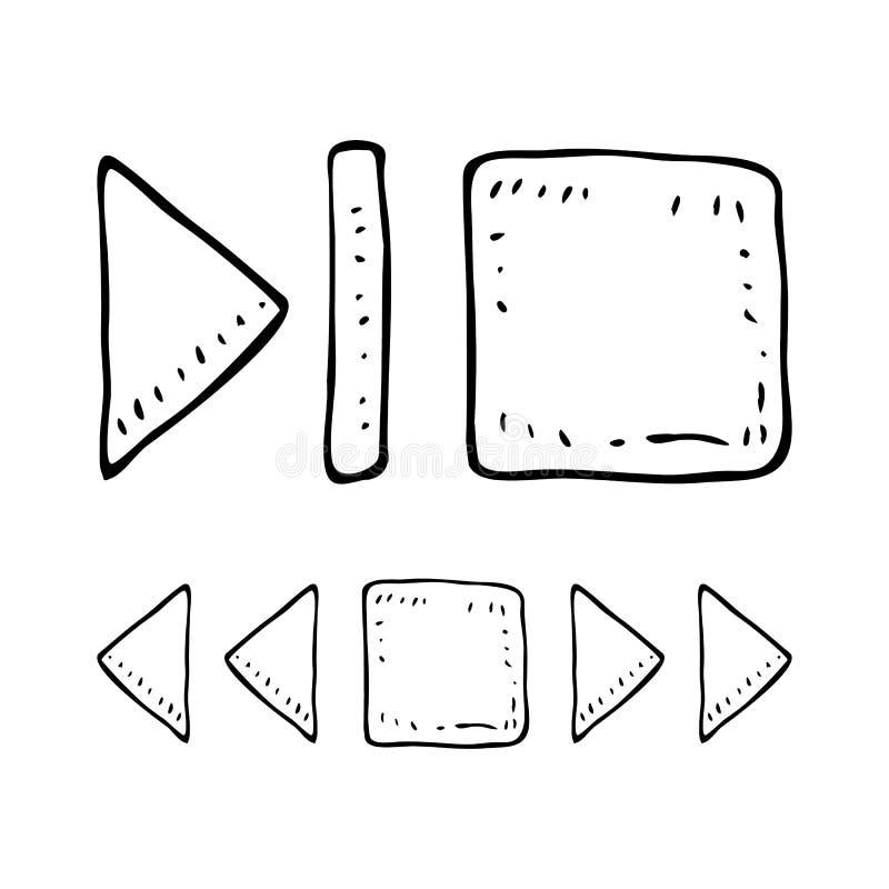Нарисованные рукой установленные doodles кнопок rewind Значки стиля эскиза Элемент украшения белизна изолированная предпосылкой П бесплатная иллюстрация