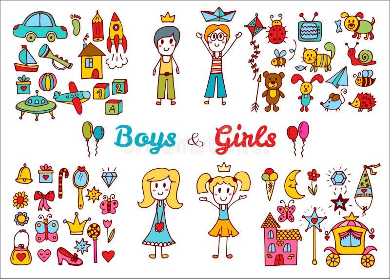 Нарисованные рукой установленные игрушки ребёнка и девушки Рисовать детей Doodle иллюстрация штока