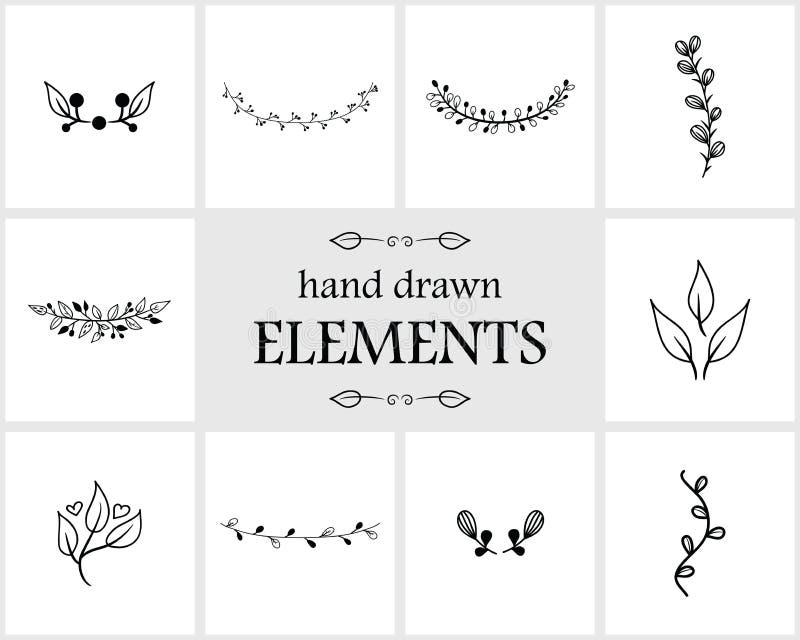 Нарисованные рукой флористические элементы и значки логотипа иллюстрация вектора