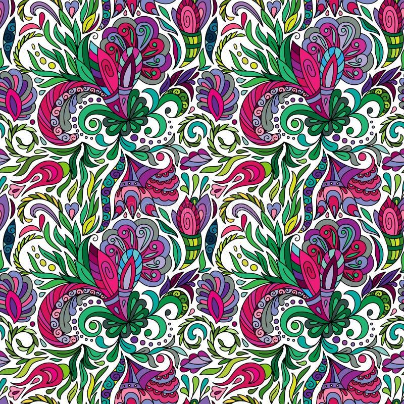 Нарисованные рукой цветки doodle Красочная флористическая безшовная картина - иллюстрация вектора белизна вектора иллюстрации пре иллюстрация штока
