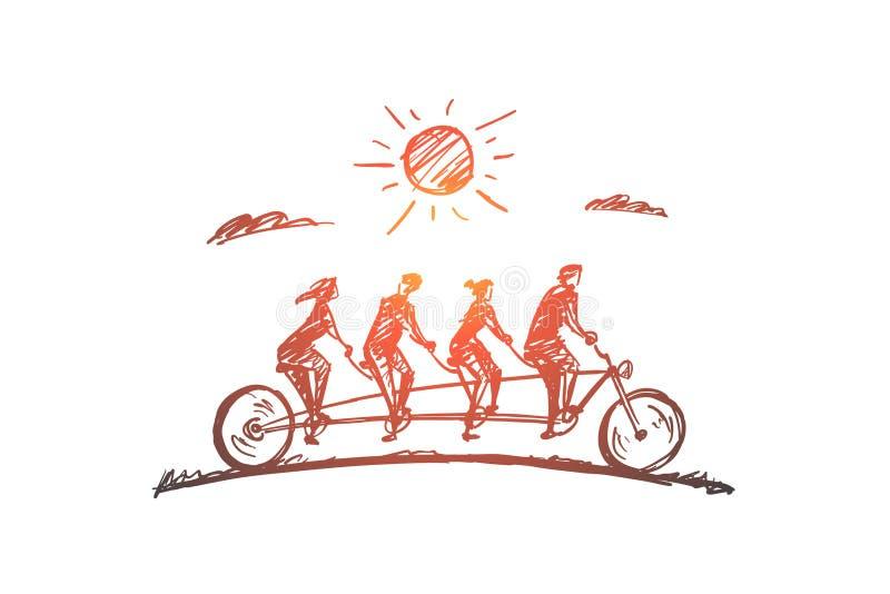 Нарисованные рукой члены семьи из четырех человек ехать велосипед иллюстрация штока
