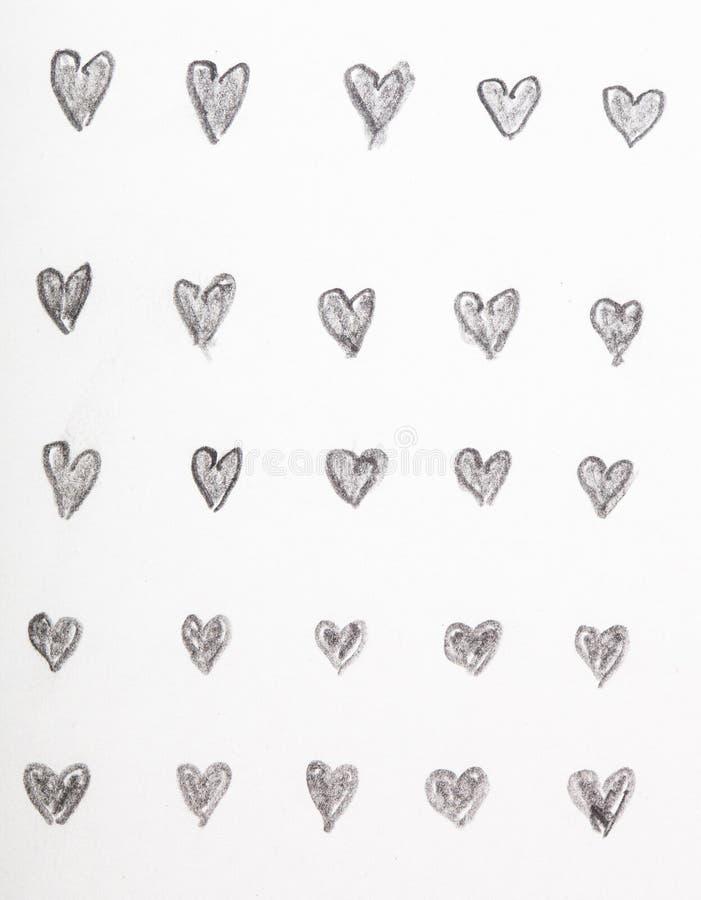 Нарисованные рукой эскизы карандаша сердца стоковая фотография