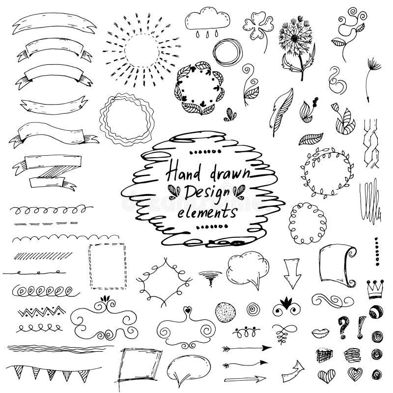 нарисованные рукой элементы дизайна: орнаменты, флористические вектор иллюстрация вектора