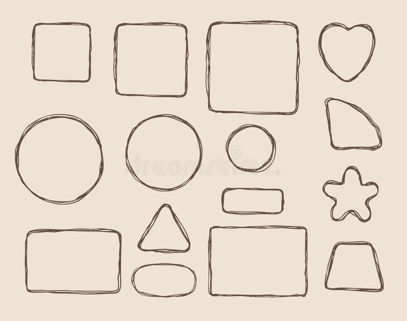 Нарисованные рукой элементы формы иллюстрация штока
