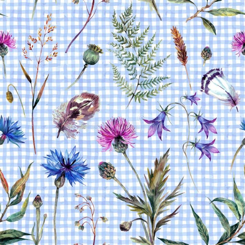 Нарисованные рукой wildflowers акварели иллюстрация штока