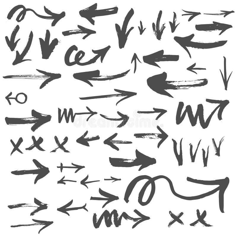 нарисованные стрелки вручают комплект Иллюстрация эскиза вектора иллюстрация штока