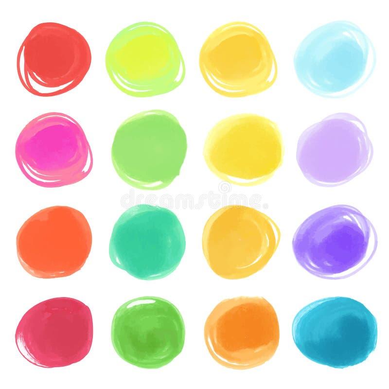Нарисованные текстуры круга отметки Watercolour Стильные элементы для дизайна вектор кругов бесплатная иллюстрация