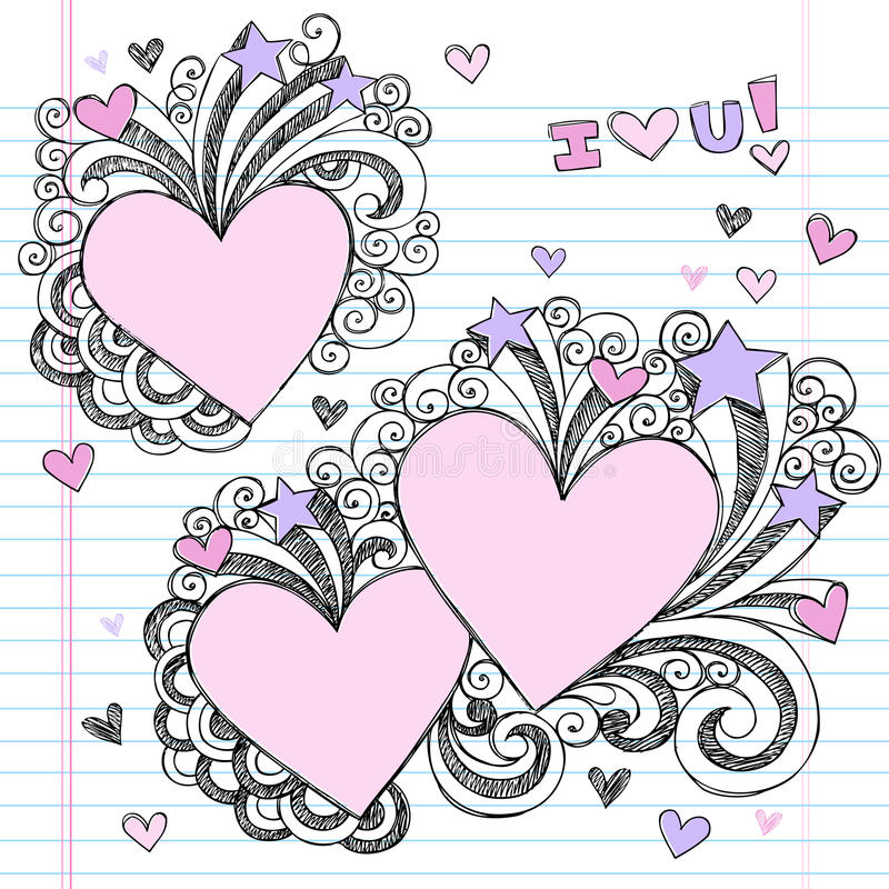 нарисованные doodles вручают влюбленности I схематичный вас бесплатная иллюстрация