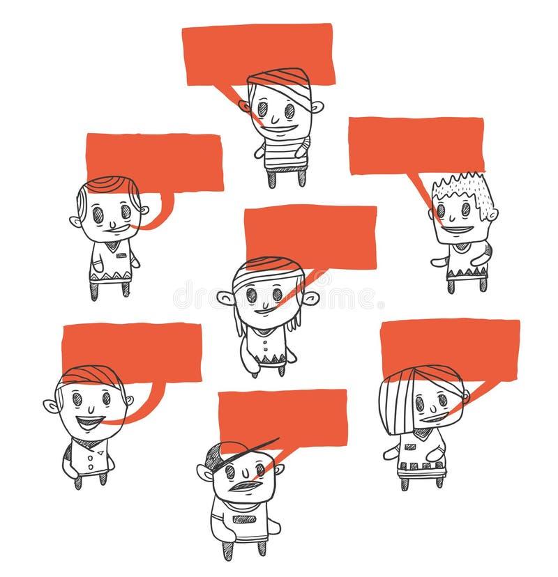 нарисованные doodles вручают говорить иллюстрация штока