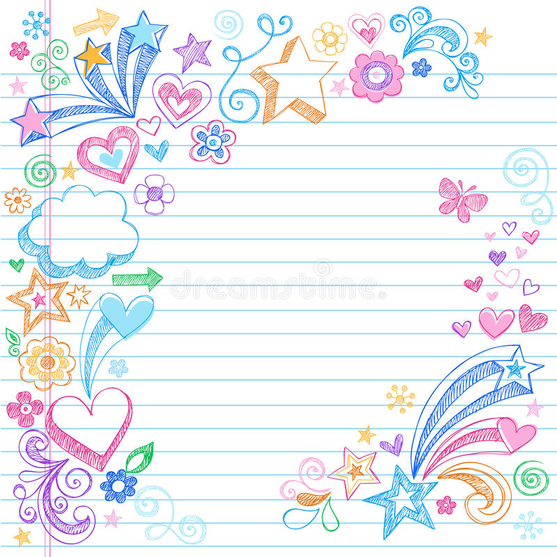 нарисованные doodles задней части вручают школу схематичную к иллюстрация вектора