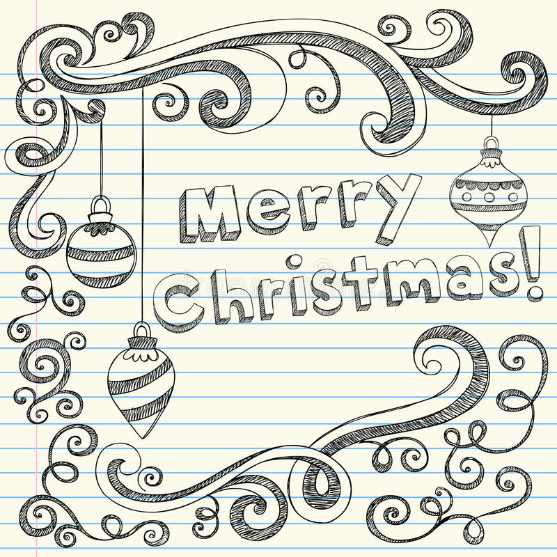 нарисованные doodles рождества вручают веселое схематичное бесплатная иллюстрация
