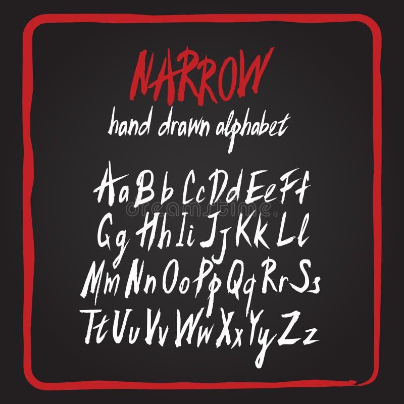 нарисованный алфавитом комплект руки Письма покрашенные щеткой грубые иллюстрация штока