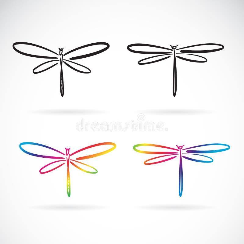 Нарисованный вектор руки doodle dragonfly стиля изолированный на белой предпосылке r r Легкий editable наслоенный вектор бесплатная иллюстрация