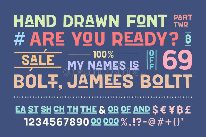Нарисованный вручную алфавит и шрифт часть 2 иллюстрация вектора