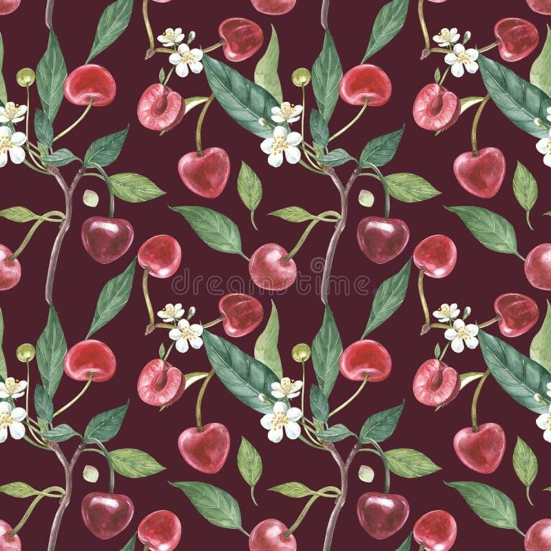 Нарисованный вручную венок акварели цветков иллюстрации вишни и листьев Иллюстрация акварели ботаническая безшовная иллюстрация штока