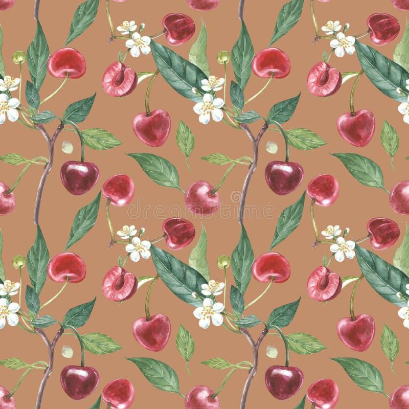 Нарисованный вручную венок акварели цветков иллюстрации вишни и листьев Иллюстрация акварели ботаническая безшовная бесплатная иллюстрация