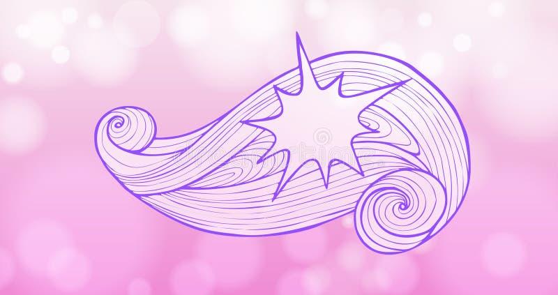 Нарисованный вручную декоративный элемент, звезда на предпосылке стилизованной завихряясь волны линий чернил сирени бесплатная иллюстрация