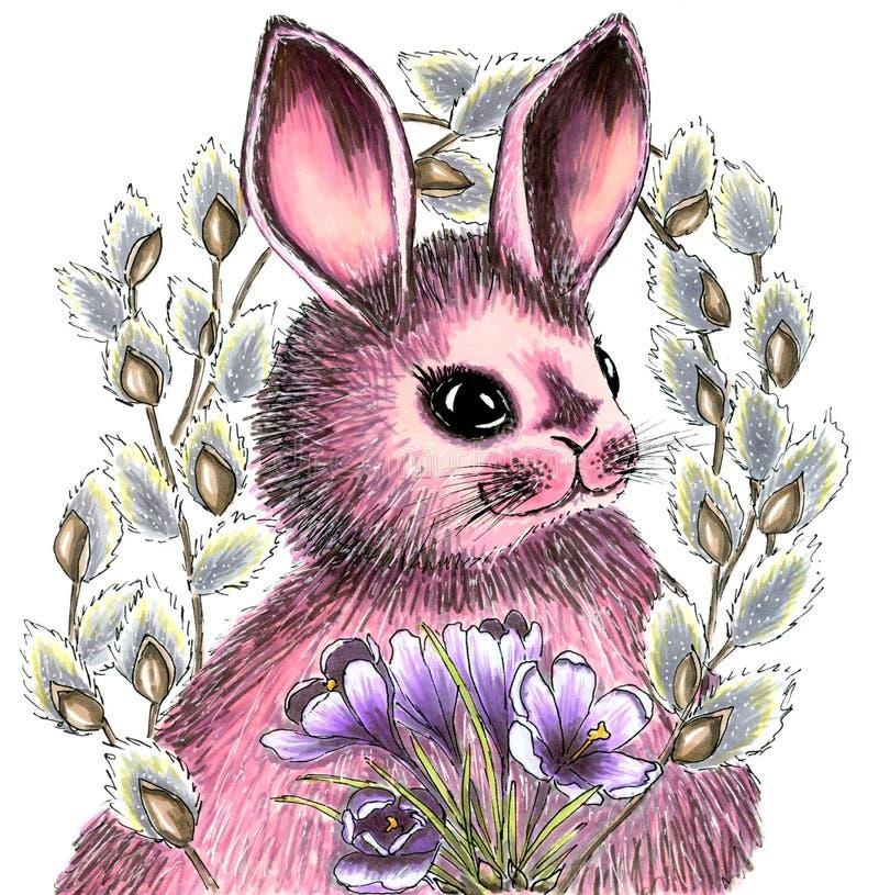 Нарисованный вручную зайчик пасхи в круге хворостин цветя вербы и букете крокусов Иллюстрация на праздник иллюстрация штока