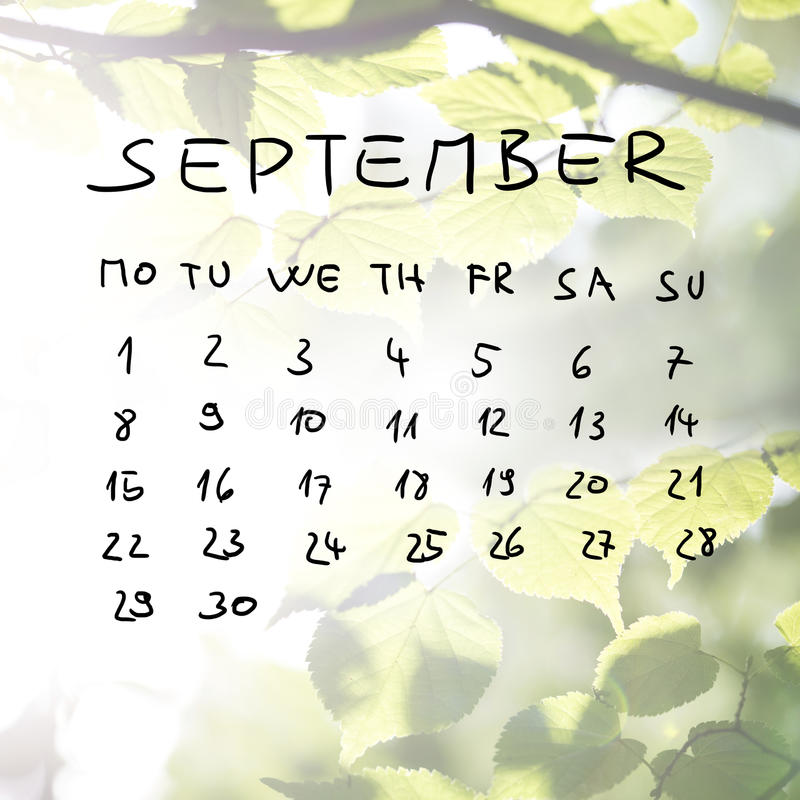 Нарисованный вручную календарь на месяц сентября стоковая фотография rf