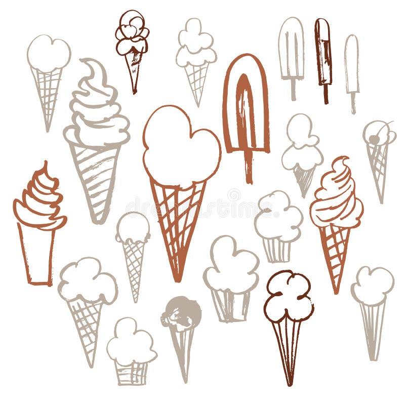 Нарисованный вручную комплект мороженого Иллюстрация эскиза вектора иллюстрация вектора