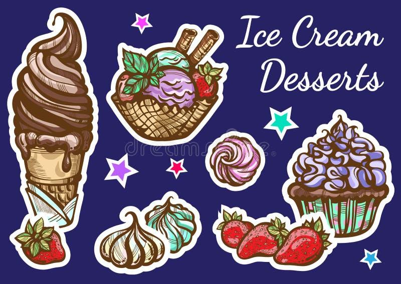 Нарисованный вручную красиво комплект значка десерта мороженого Ретро художественное произведение стиля, винтажные изолированные  бесплатная иллюстрация