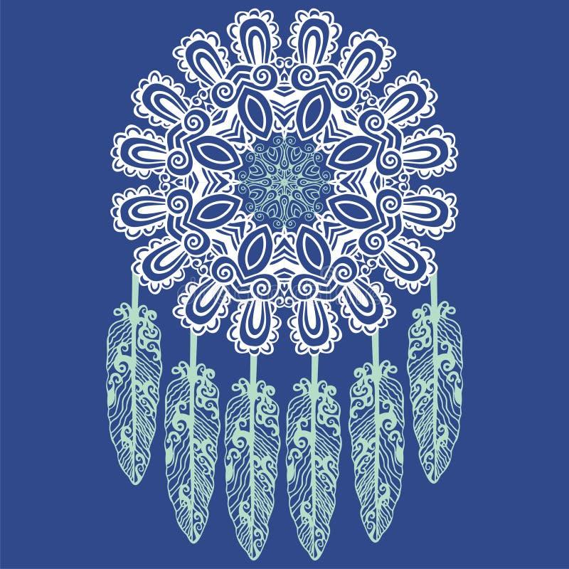 Нарисованный вручную мечт улавливатель, защита, американские индейцы иллюстрация вектора