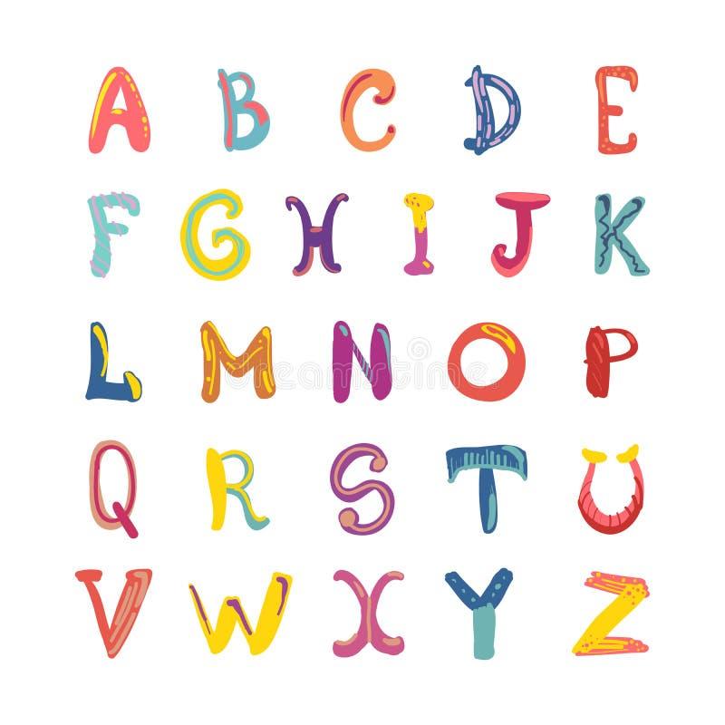 Нарисованный вручную милый в стиле фанк алфавит Шрифт детей на белизне иллюстрация вектора