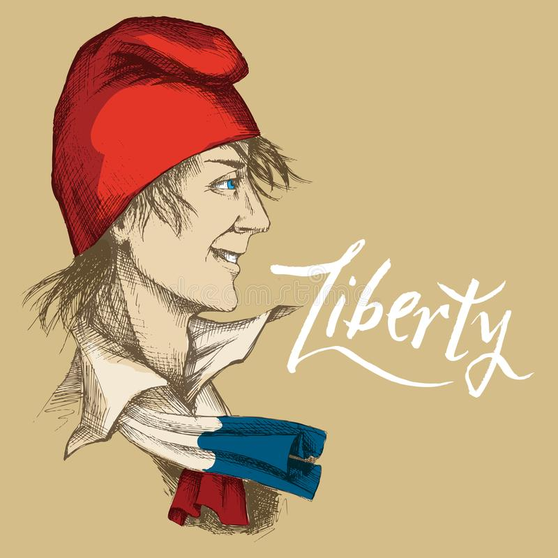 Нарисованный вручную молодой француз в красной крышке Phrygian Символ свободы, шарф с цветами положения француза бесплатная иллюстрация