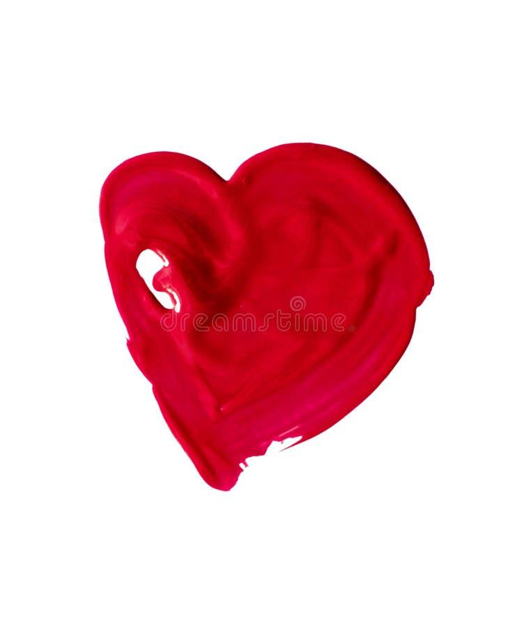 Нарисованный вручную покрашенное красное сердце стоковое изображение rf