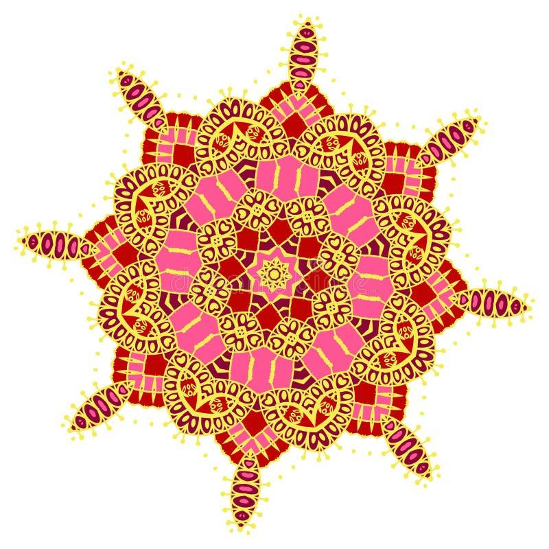 Нарисованный вручную покрашенный фестиваль Holi мандалы цветов иллюстрация вектора