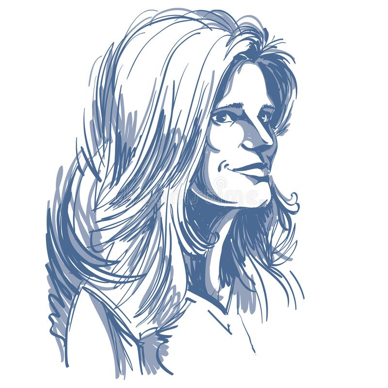 Нарисованный вручную портрет женщины бело-кожи мечтательной, th эмоций стороны бесплатная иллюстрация