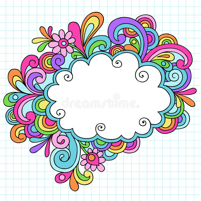Нарисованный вручную рамка Doodle тетради облака бесплатная иллюстрация