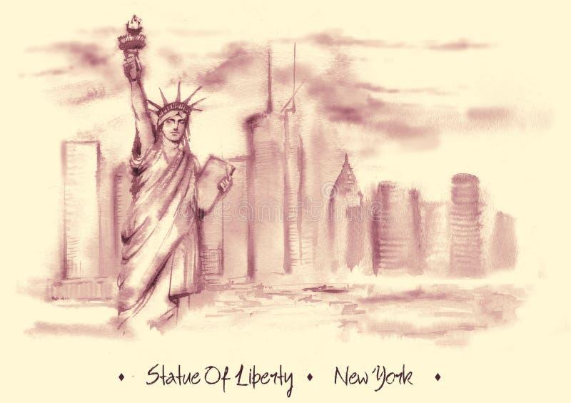Нарисованный вручную чертеж акварели американского ландшафта иллюстрация вектора