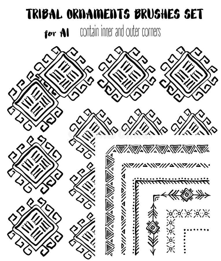 Нарисованный вручную этнический орнаментальный комплект щеток иллюстрация вектора