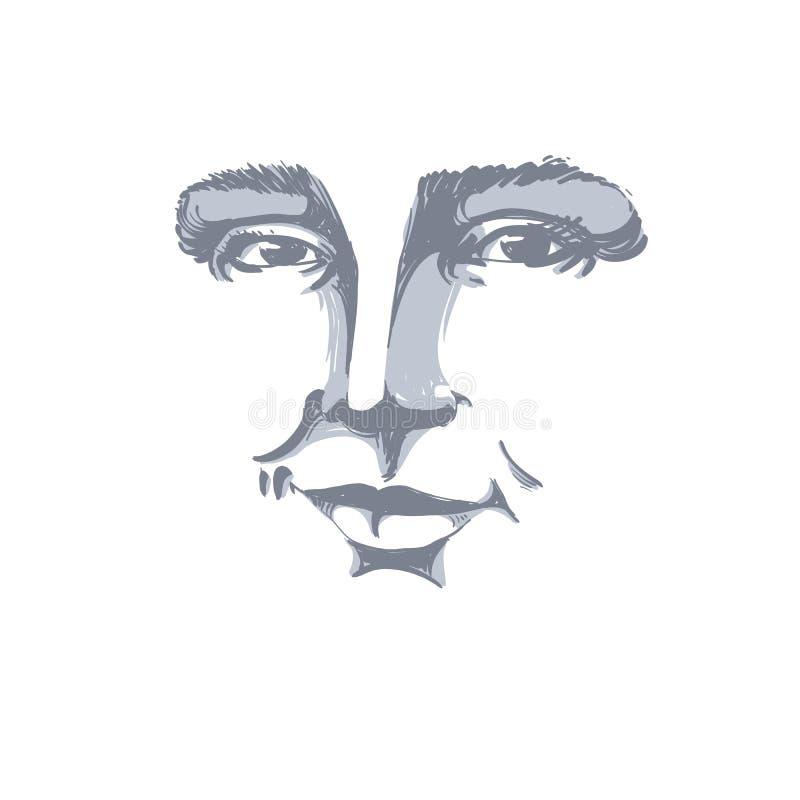 Нарисованный вручную monochrome портрет женщины бело-кожи flirting, fac бесплатная иллюстрация