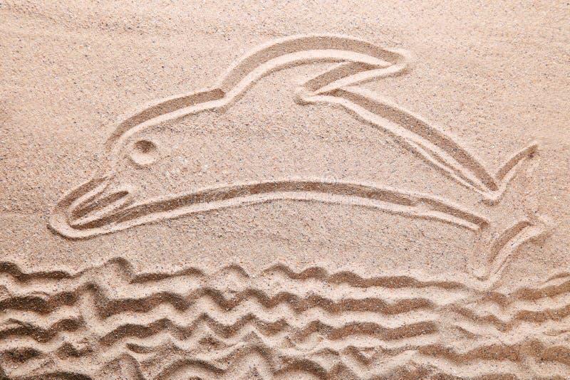 Нарисованный дельфин стоковые фото