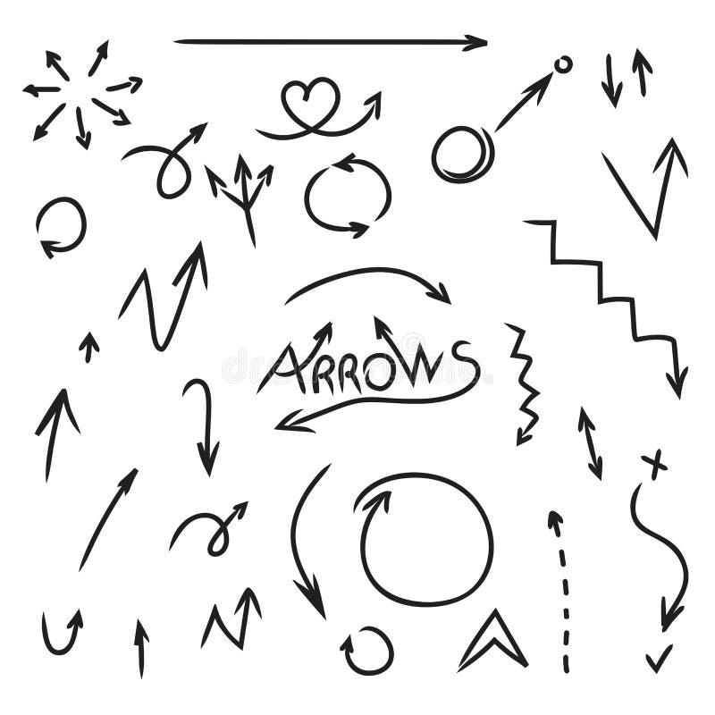 Нарисованный комплект руки стрелок Собрание элемента дизайна Doodle на белой предпосылке иллюстрация штока